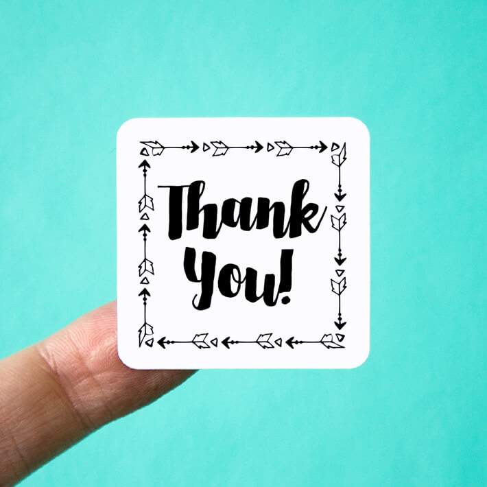 Arrow Frame Thank You Stickers