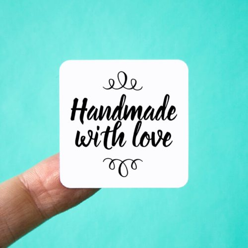 Handmade with Love Square Stickers