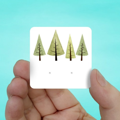 Green Trees Stud Earring Cards