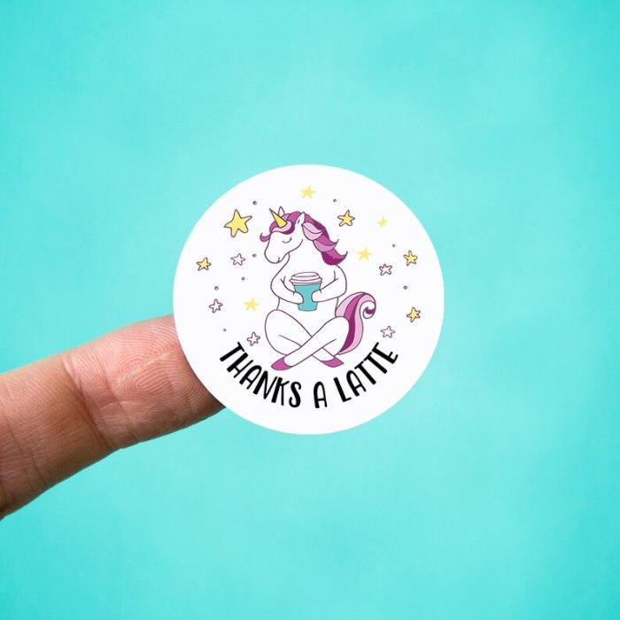 Thanks a Latte Unicorn Stickers