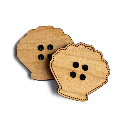Seashell Shaped Wooden Buttons
