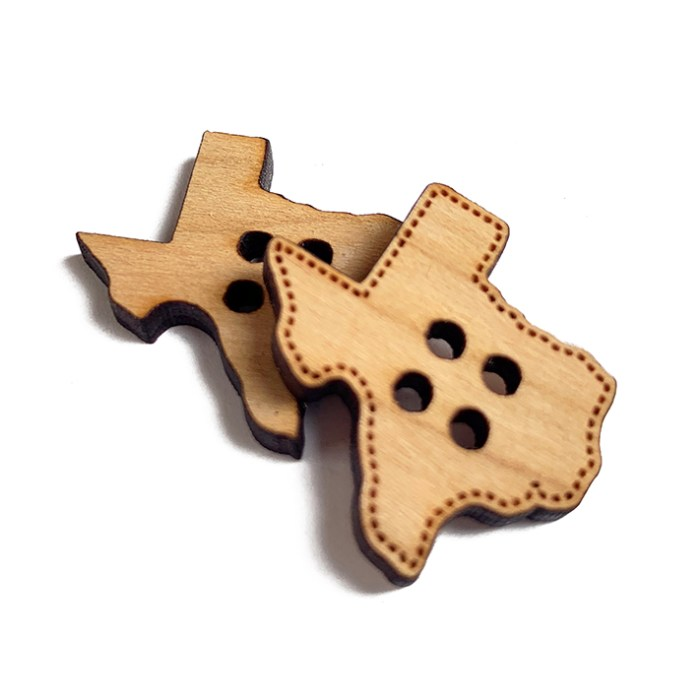 Texas Shaped Wooden Buttons