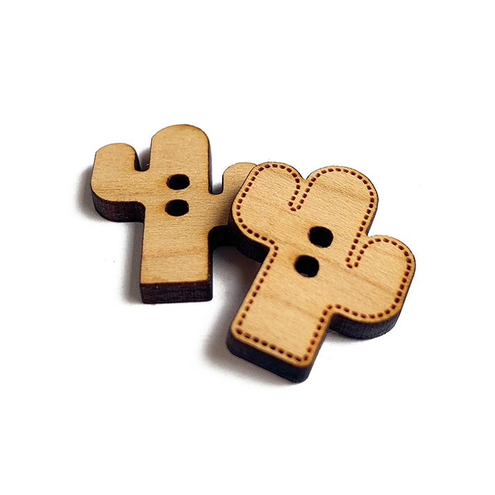Cactus Wooden Buttons