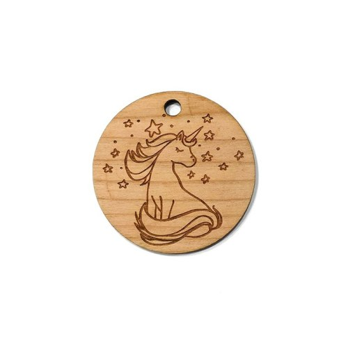 Unicorn & Stars Wooden Charms