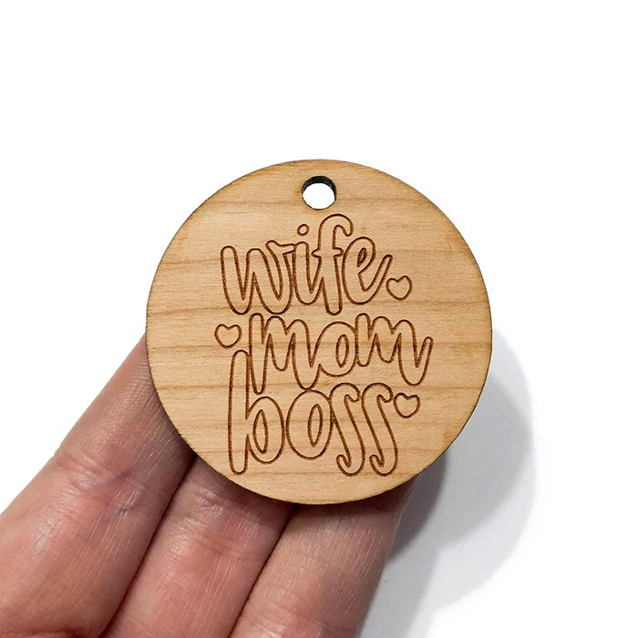 Wife Mom Boss Wooden Charms
