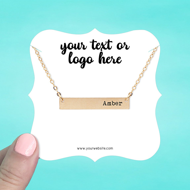 """Set of 34 3.5 x 3.5"""" Square Bracket Necklace Display Cards"""