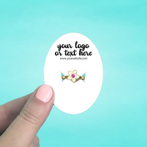 "Set of 72 2 x 2.75"" Oval Ring Display Cards"