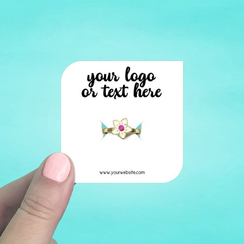 "Set of 70 2.5 x 2.5"" Square Leaf Square Leaf Ring Display Cards"