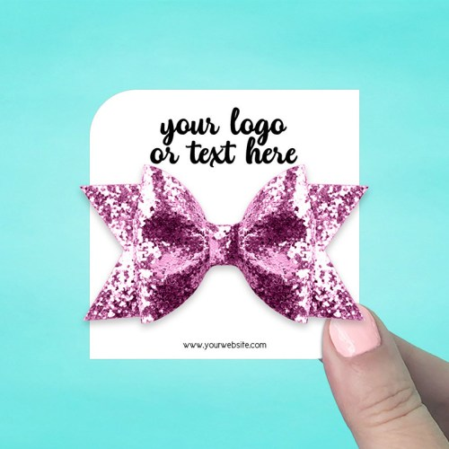 "Set of 42 3 x 3"" Square Leaf Hair Bow Display Cards"