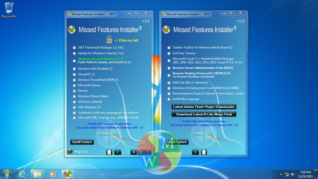 Windows 7 Missed Features Installer7 v1.0
