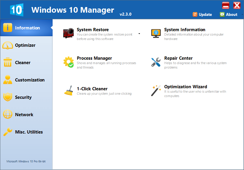Windows 10 Manager 3.2.3 Yamicsoft