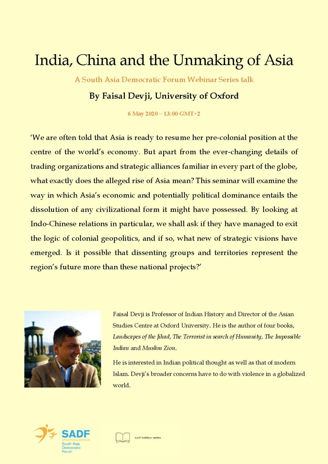 , India, China and the Unmaking of Asia – Faisal Devji, University of Oxford