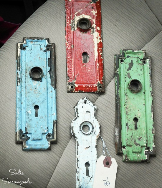 Keyhole covers or door knob back plate from antiques store for upcycling ideas
