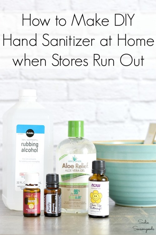 Handmade hand sanitizer for emergency prepping with COVID 19