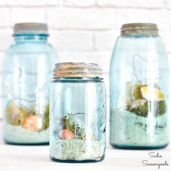 Beach in a Jar with rare mason jars and seashells for ocean decor