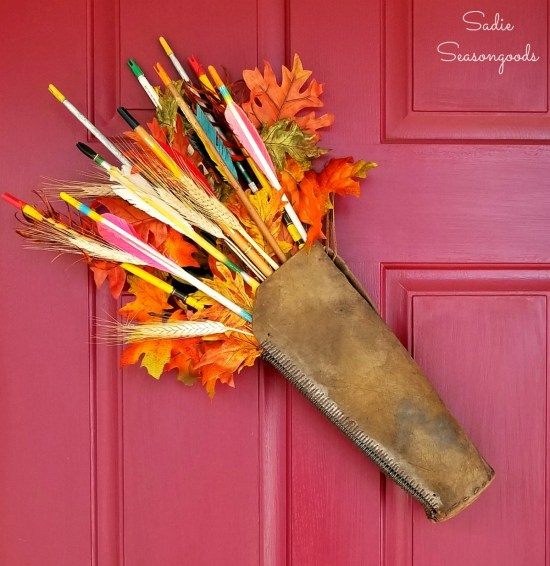 Leather quiver and wooden arrows or vintage arrows for upcycling idea as an autumn wreath for harvest decor by Sadie Seasongoods