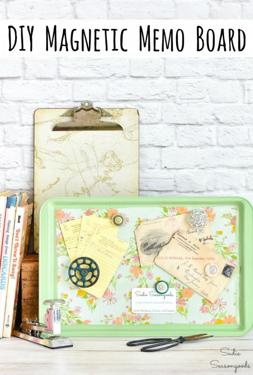 Baking pan or cookie tray that was upcycled into a magnetic memo board