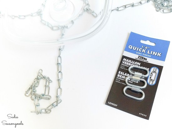 Quick links to hold the chains of a hanging bird bath