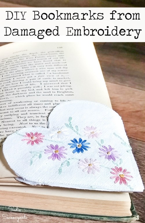 How to make your own bookmarks from embroidered linens