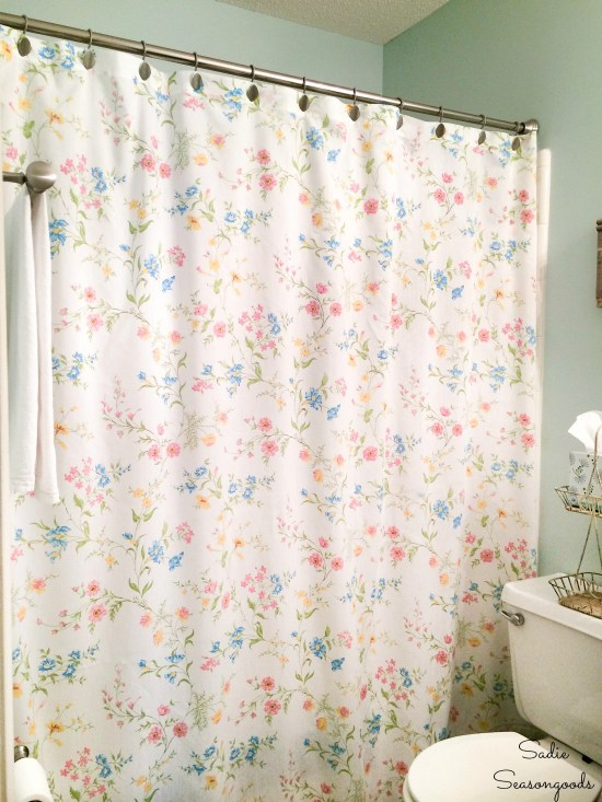 Floral shower curtain for a cottage style bathroom from vintage bed sheets