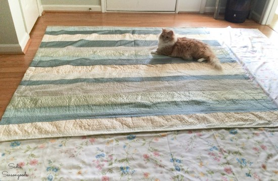 Making a cloth shower curtain from vintage bed sheets