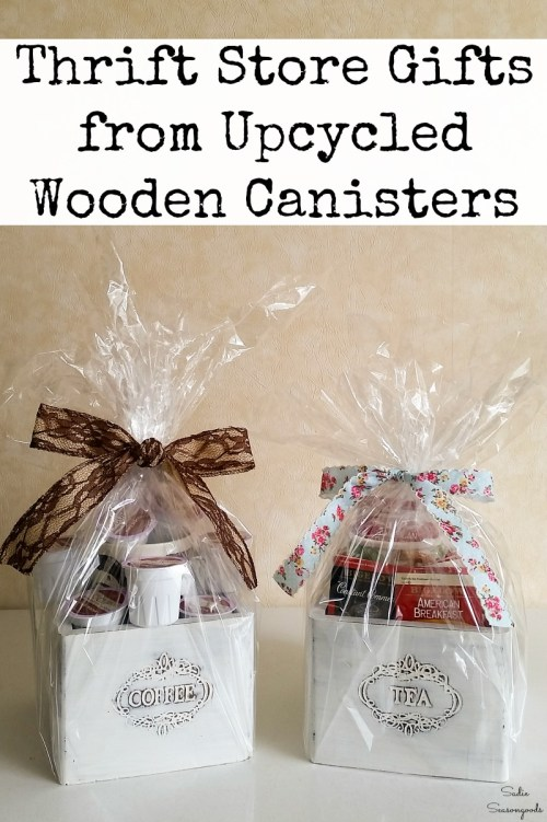 Gifts for tea lovers and coffee lovers by upcycling the tea and coffee canisters into wooden gift boxes