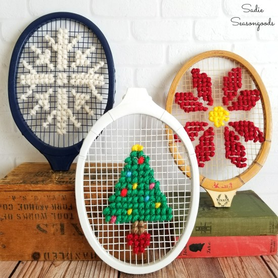 Unique Christmas decor and fireplace Christmas decorations by doing cross stitch on vintage tennis rackets