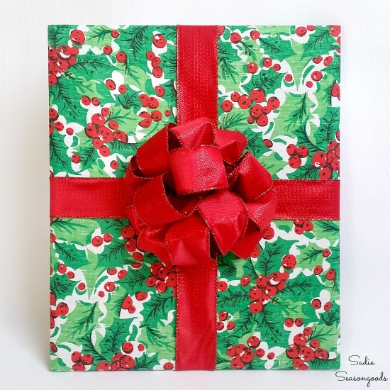 Wooden frames and Christmas placemats that are cheap Christmas decorations that look like wrapped presents by Sadie Seasongoods