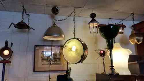 DIY repurposed snare drum as a pendant light at Architectural Antics in Knoxville, TN