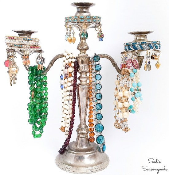 Upcycling a silver candelabra into a necklace tree and jewelry tree stand