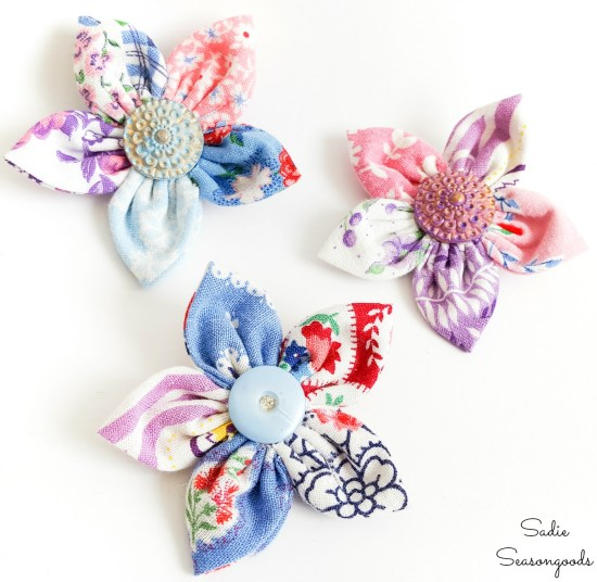 Lapel flowers or flower lapel pins from flour sack fabric