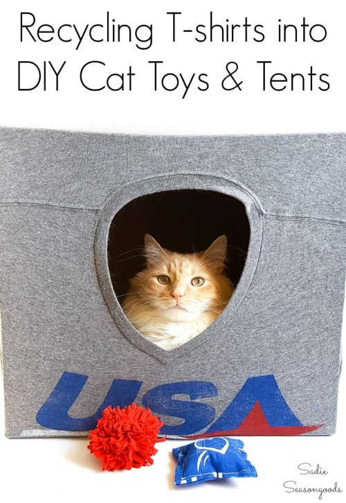 How to make a DIY cat cave or pet tent by repurposing t-shirts