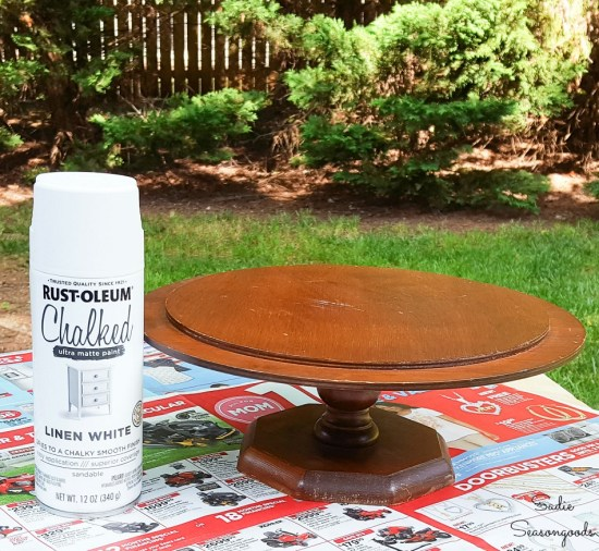 Spray chalk paint on a pedestal cake stand as thrift store makeovers