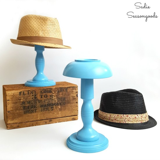 How to build a hat holder for a Trilby hat by upcycling wooden bowls and wooden candlesticks from the thrift store