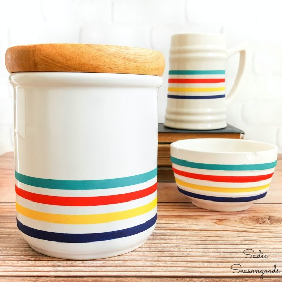 DIY Cabin Decor with Hudson Bay stripes on white dishes