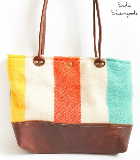 Upcycling a vintage Hudson Bay blanket as a Market Tote by Hawks and Doves