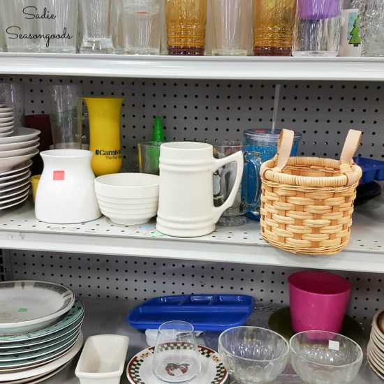 White dishes at a thrift store for decorating with acrylic paint