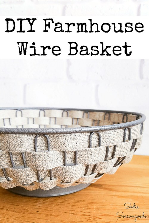 Upcycling a bread basket into vintage farmhouse decor with burlap ribbon
