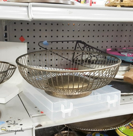 Wire bread basket at the thrift store for upcycling into vintage farmhouse decor
