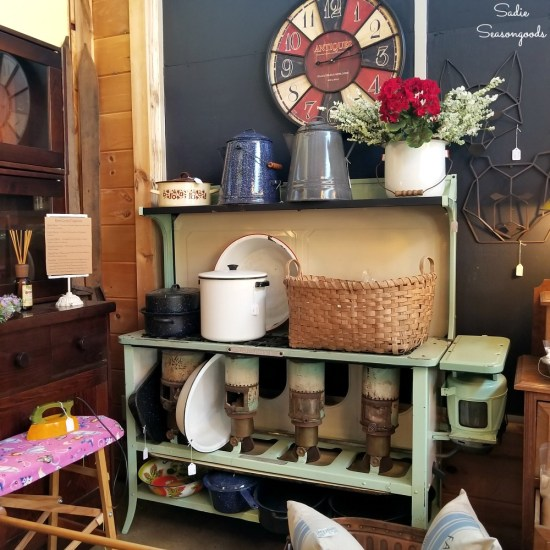 Shopping in Blue Ridge GA at April's Attic for antiques and primitive decor by Sadie Seasongoods