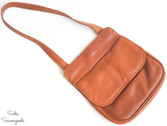 Small leather handbag that will become a hip purse