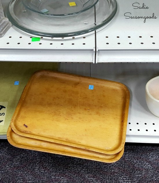 Wooden tray or wood tray at thrift store to be upcycled into rustic cabin decor with a Buffalo plaid stencil