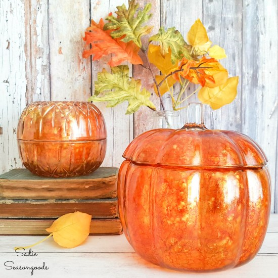 Alcohol ink on glass pumpkins for fall home decor