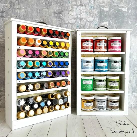 DIY Craft Room Organization with craft paint storage inside upcycled old drawers by Sadie Seasongoods / www.sadieseasongoods.com