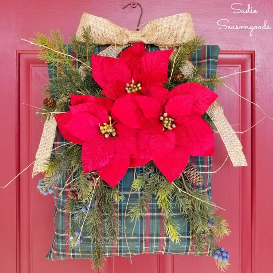 Holiday wreath and rustic Christmas decor by upcycling a clothes pin bag with artificial poinsettia by Sadie Seasongoods