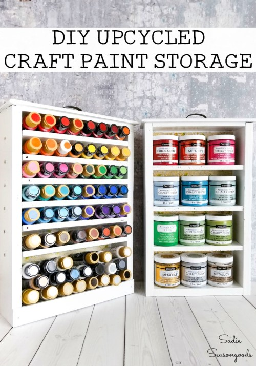 Wooden drawers as craft paint storage with shelves