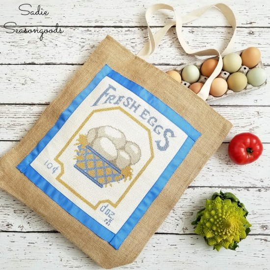 How to repurpose a framed cross stitch or counted cross stitch into a reusable shopping bag or burlap bag