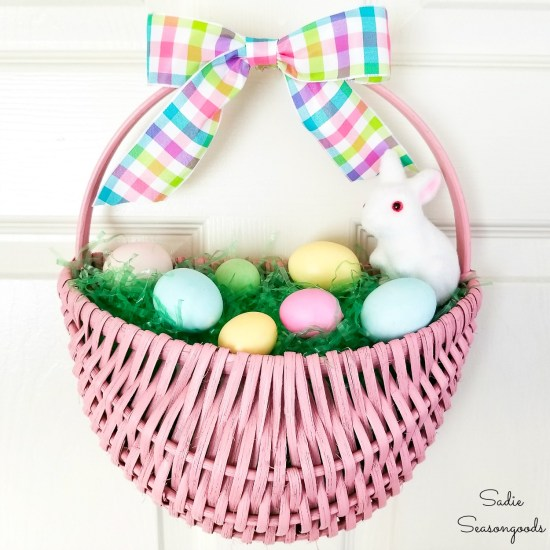 Easter door wreath and Easter wreath DIY by upcycling a door hanging basket with eggs and a flocked bunny