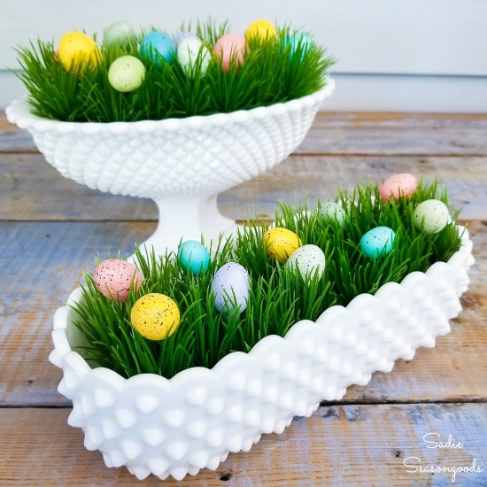 Hobnail milk glass as vintage Easter decor with speckled eggs on plastic grass