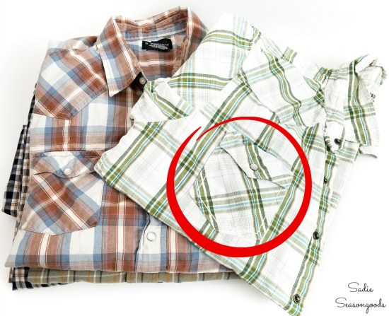 Snap pockets on mens shirts for upcycling into scented sachets